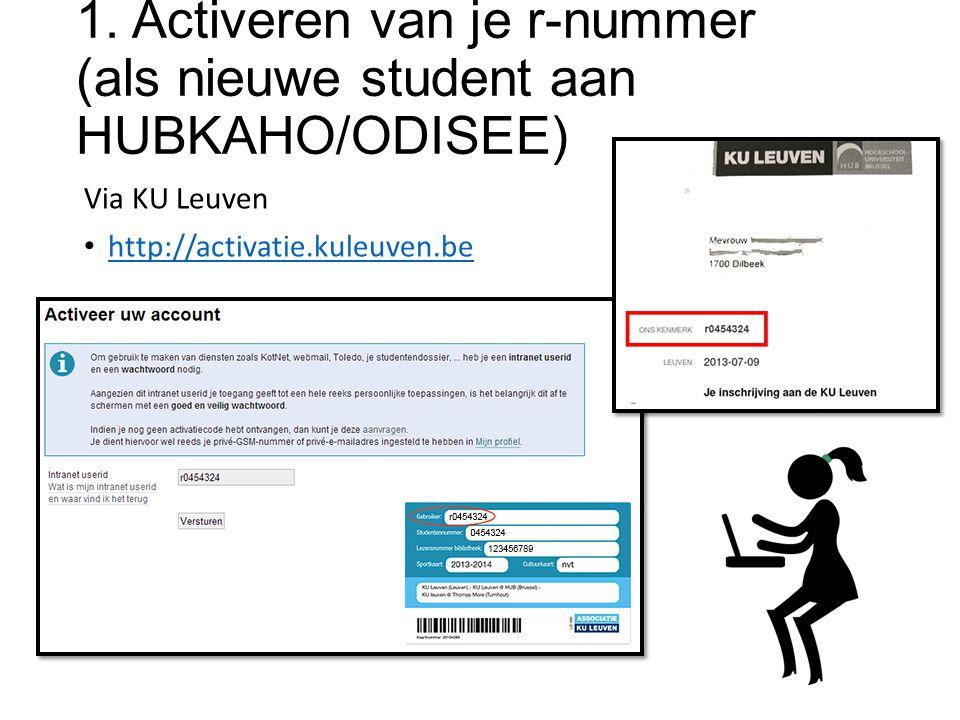 1. Activeren van je r-nummer (als nieuwe student aan HUBKAHO/ODISEE) Via KU Leuven http://activatie.kuleuven.be