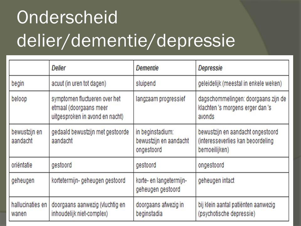 Onderscheid delier/dementie/depressie