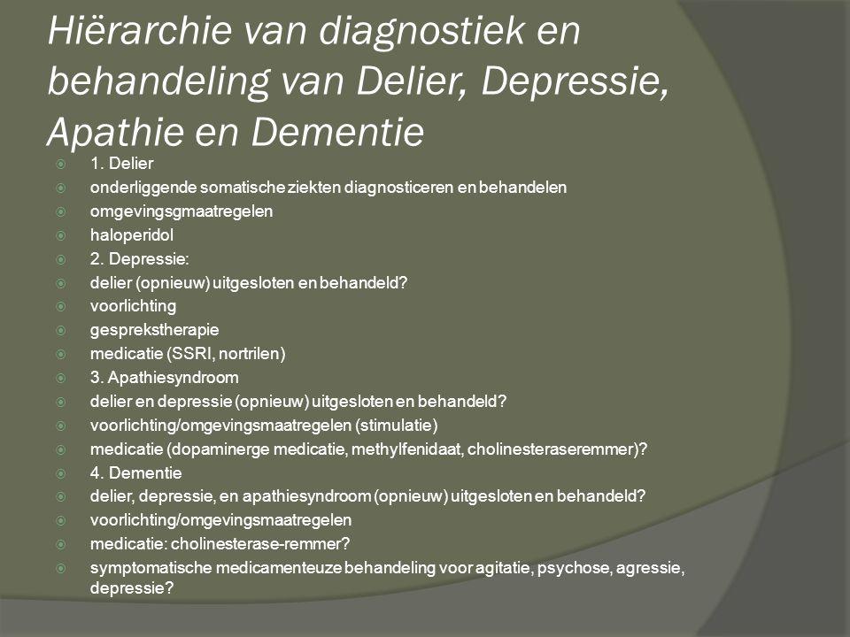 Hiërarchie van diagnostiek en behandeling van Delier, Depressie, Apathie en Dementie  1. Delier  onderliggende somatische ziekten diagnosticeren en