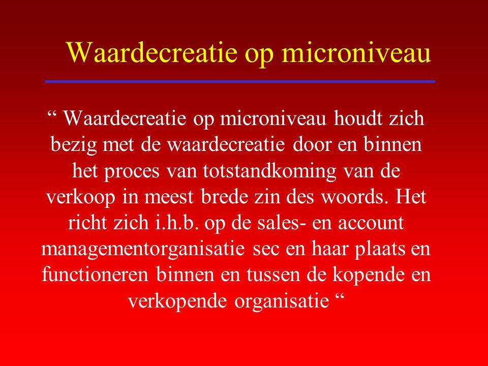 """Waardecreatie op microniveau """" Waardecreatie op microniveau houdt zich bezig met de waardecreatie door en binnen het proces van totstandkoming van de"""