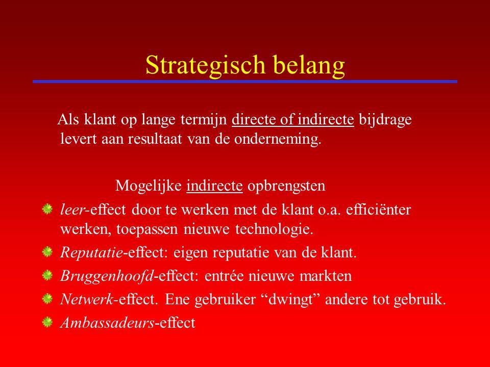 Strategisch belang Als klant op lange termijn directe of indirecte bijdrage levert aan resultaat van de onderneming. Mogelijke indirecte opbrengsten l