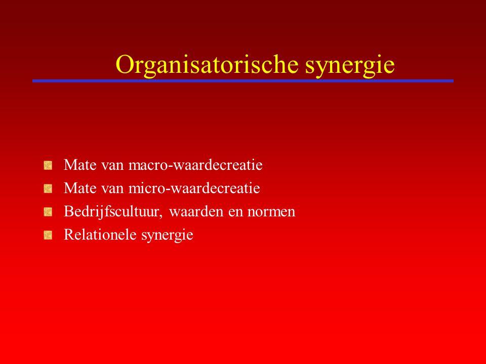 Organisatorische synergie Mate van macro-waardecreatie Mate van micro-waardecreatie Bedrijfscultuur, waarden en normen Relationele synergie