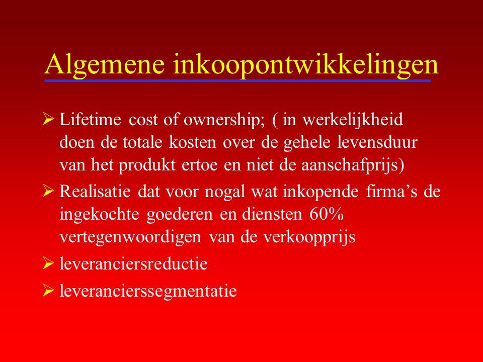 Algemene inkoopontwikkelingen  Lifetime cost of ownership; ( in werkelijkheid doen de totale kosten over de gehele levensduur van het produkt ertoe e