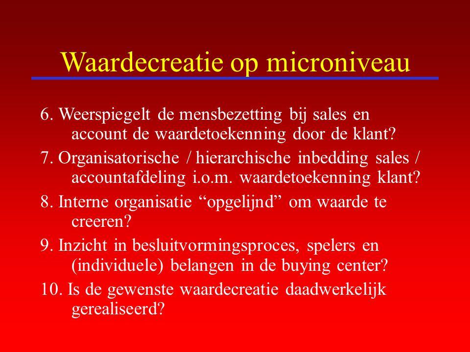 Waardecreatie op microniveau 6. Weerspiegelt de mensbezetting bij sales en account de waardetoekenning door de klant? 7. Organisatorische / hierarchis