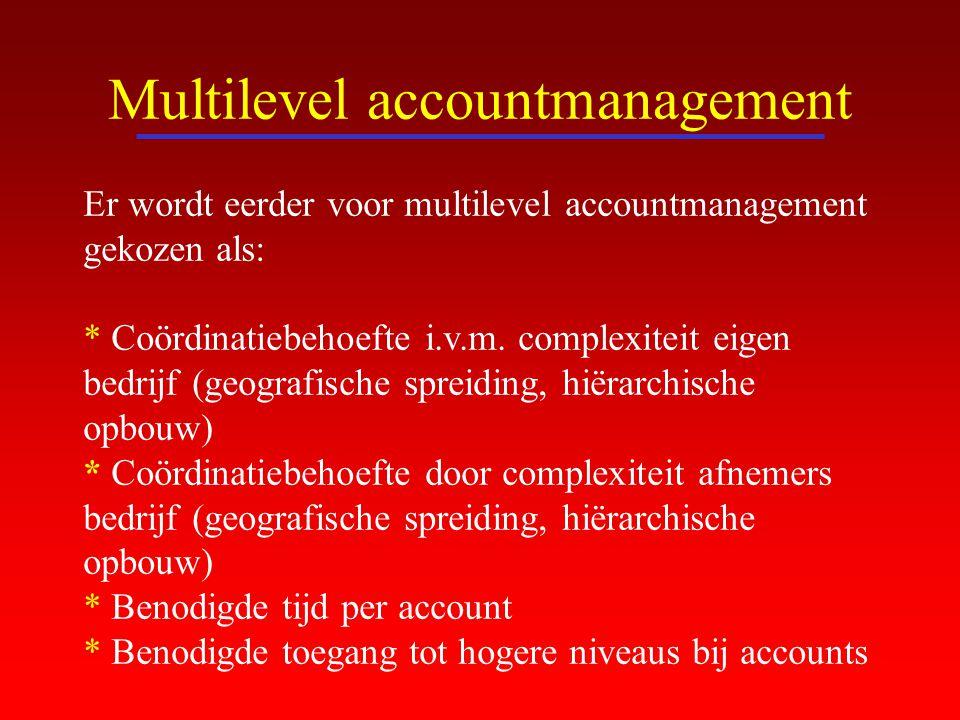 Multilevel accountmanagement Er wordt eerder voor multilevel accountmanagement gekozen als: * Coördinatiebehoefte i.v.m. complexiteit eigen bedrijf (g
