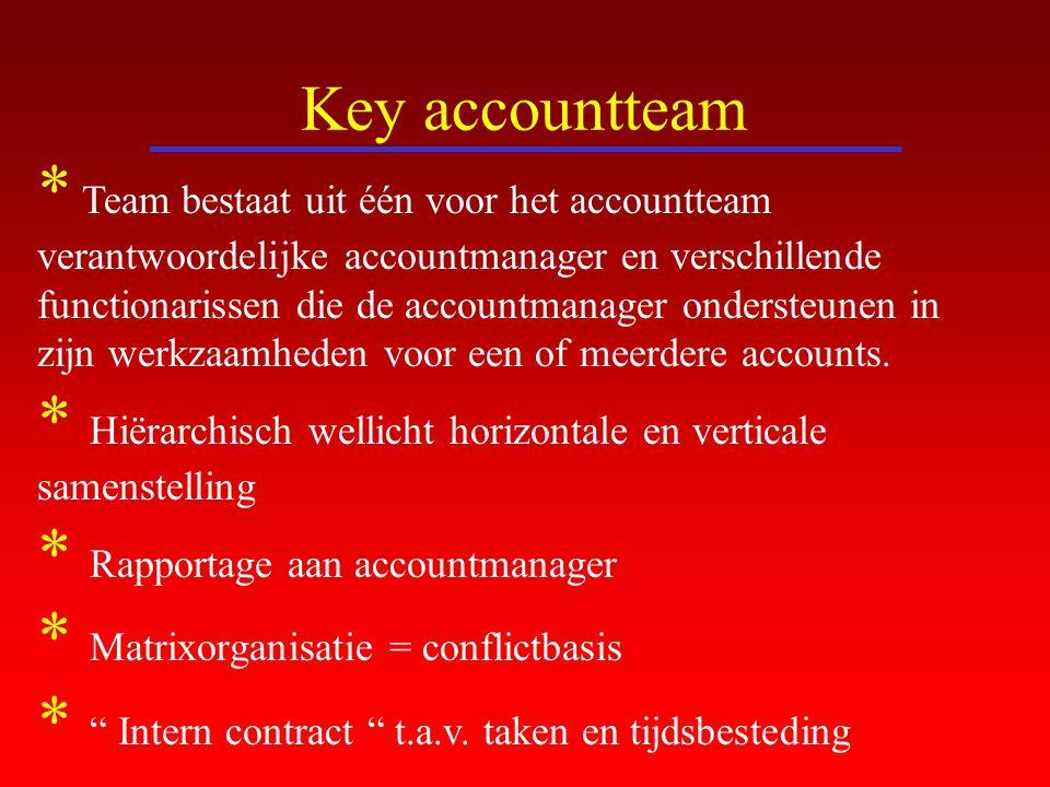Key accountteam * Team bestaat uit één voor het accountteam verantwoordelijke accountmanager en verschillende functionarissen die de accountmanager on