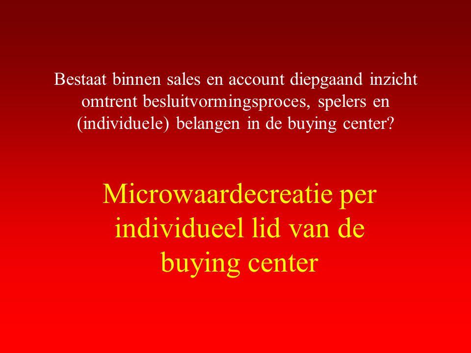 Bestaat binnen sales en account diepgaand inzicht omtrent besluitvormingsproces, spelers en (individuele) belangen in de buying center? Microwaardecre