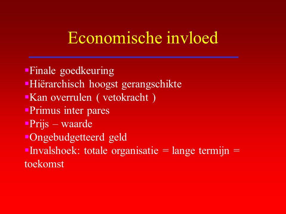 Economische invloed  Finale goedkeuring  Hiërarchisch hoogst gerangschikte  Kan overrulen ( vetokracht )  Primus inter pares  Prijs – waarde  On
