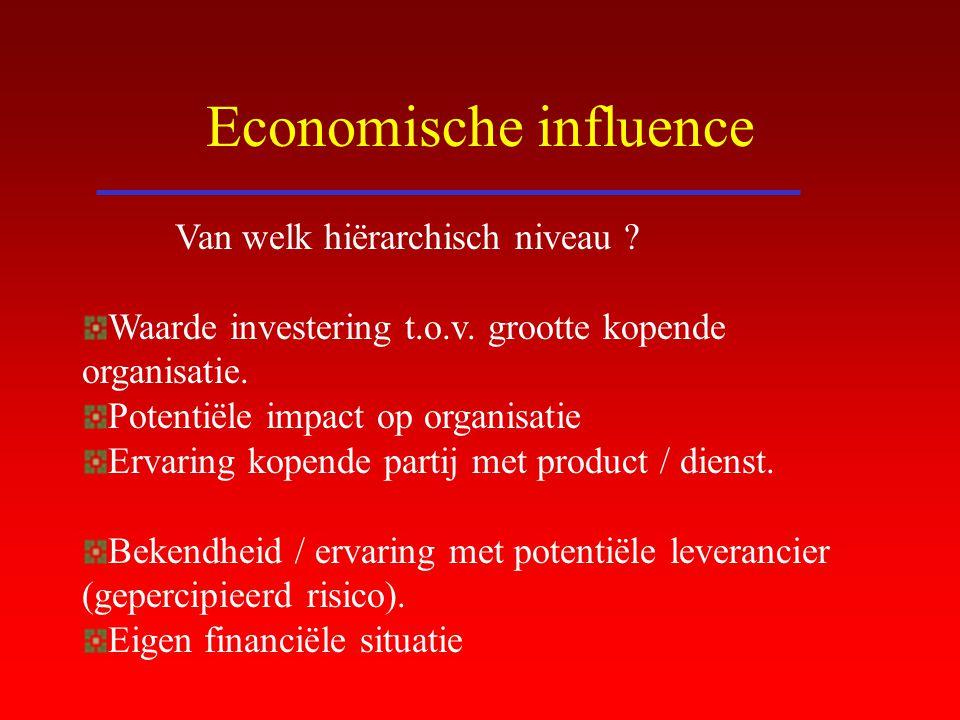 Economische influence Van welk hiërarchisch niveau ? Waarde investering t.o.v. grootte kopende organisatie. Potentiële impact op organisatie Ervaring