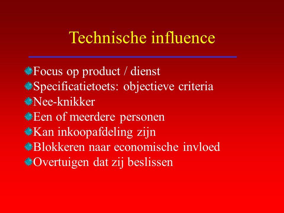 Technische influence Focus op product / dienst Specificatietoets: objectieve criteria Nee-knikker Een of meerdere personen Kan inkoopafdeling zijn Blo