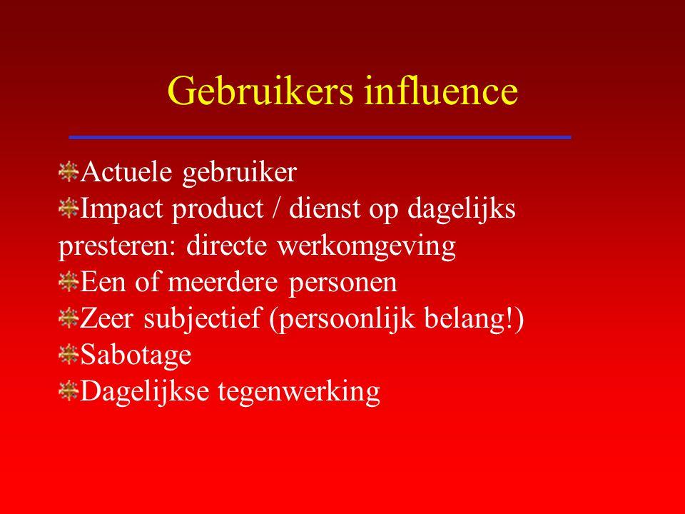 Gebruikers influence Actuele gebruiker Impact product / dienst op dagelijks presteren: directe werkomgeving Een of meerdere personen Zeer subjectief (