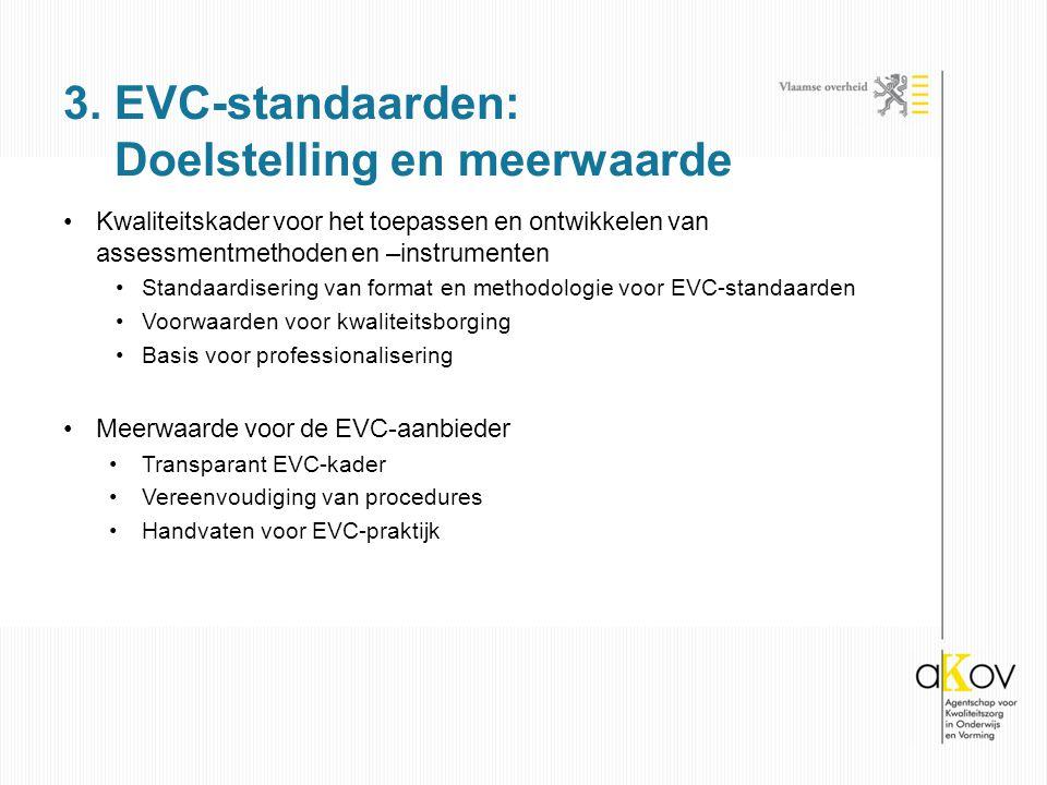Kwaliteitskader voor het toepassen en ontwikkelen van assessmentmethoden en –instrumenten Standaardisering van format en methodologie voor EVC-standaarden Voorwaarden voor kwaliteitsborging Basis voor professionalisering Meerwaarde voor de EVC-aanbieder Transparant EVC-kader Vereenvoudiging van procedures Handvaten voor EVC-praktijk 3.