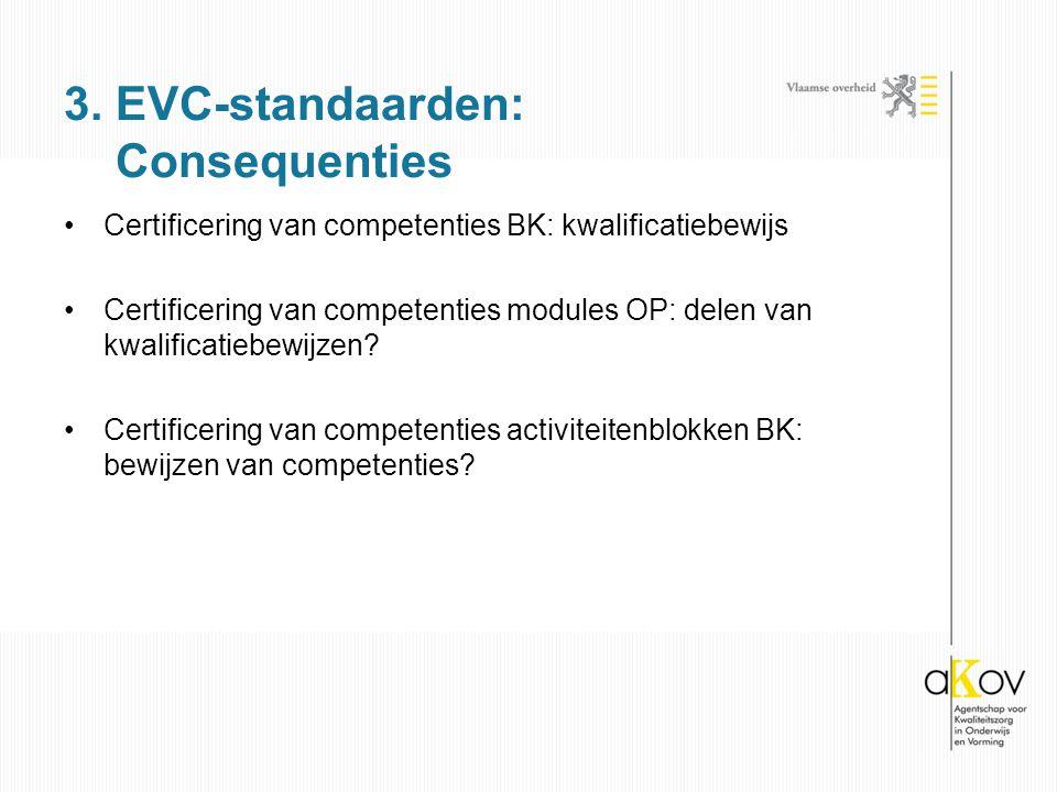Certificering van competenties BK: kwalificatiebewijs Certificering van competenties modules OP: delen van kwalificatiebewijzen.