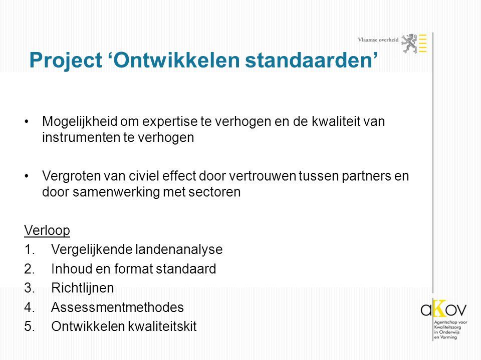 Mogelijkheid om expertise te verhogen en de kwaliteit van instrumenten te verhogen Vergroten van civiel effect door vertrouwen tussen partners en door samenwerking met sectoren Verloop 1.Vergelijkende landenanalyse 2.Inhoud en format standaard 3.Richtlijnen 4.Assessmentmethodes 5.Ontwikkelen kwaliteitskit Project 'Ontwikkelen standaarden'