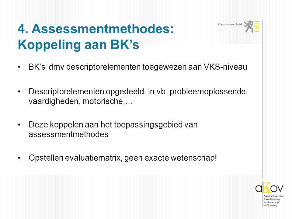 BK's dmv descriptorelementen toegewezen aan VKS-niveau Descriptorelementen opgedeeld in vb. probleemoplossende vaardigheden, motorische,… Deze koppele