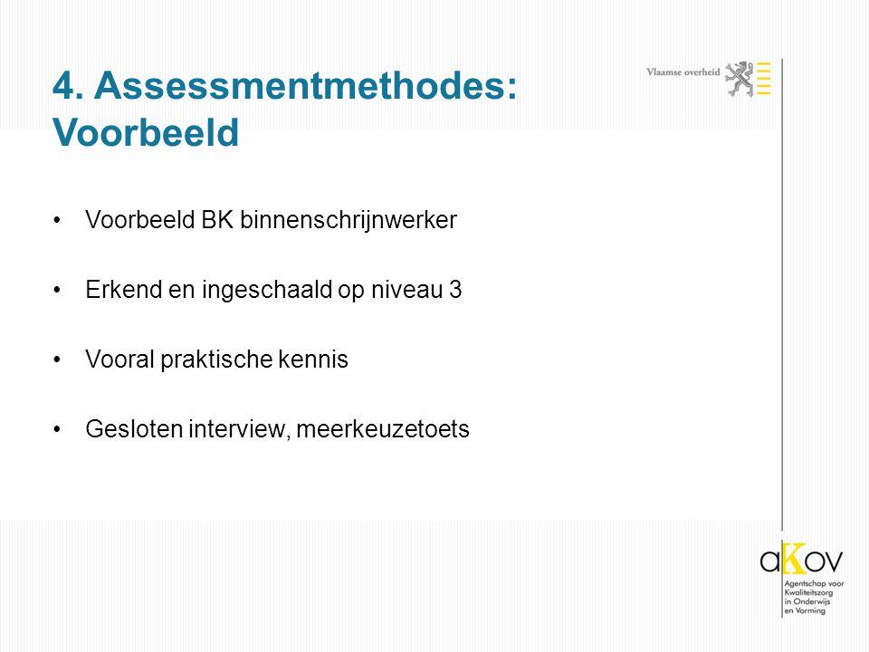 Voorbeeld BK binnenschrijnwerker Erkend en ingeschaald op niveau 3 Vooral praktische kennis Gesloten interview, meerkeuzetoets 4. Assessmentmethodes: