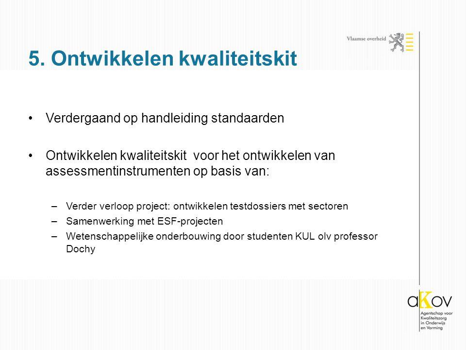 Verdergaand op handleiding standaarden Ontwikkelen kwaliteitskit voor het ontwikkelen van assessmentinstrumenten op basis van: –Verder verloop project