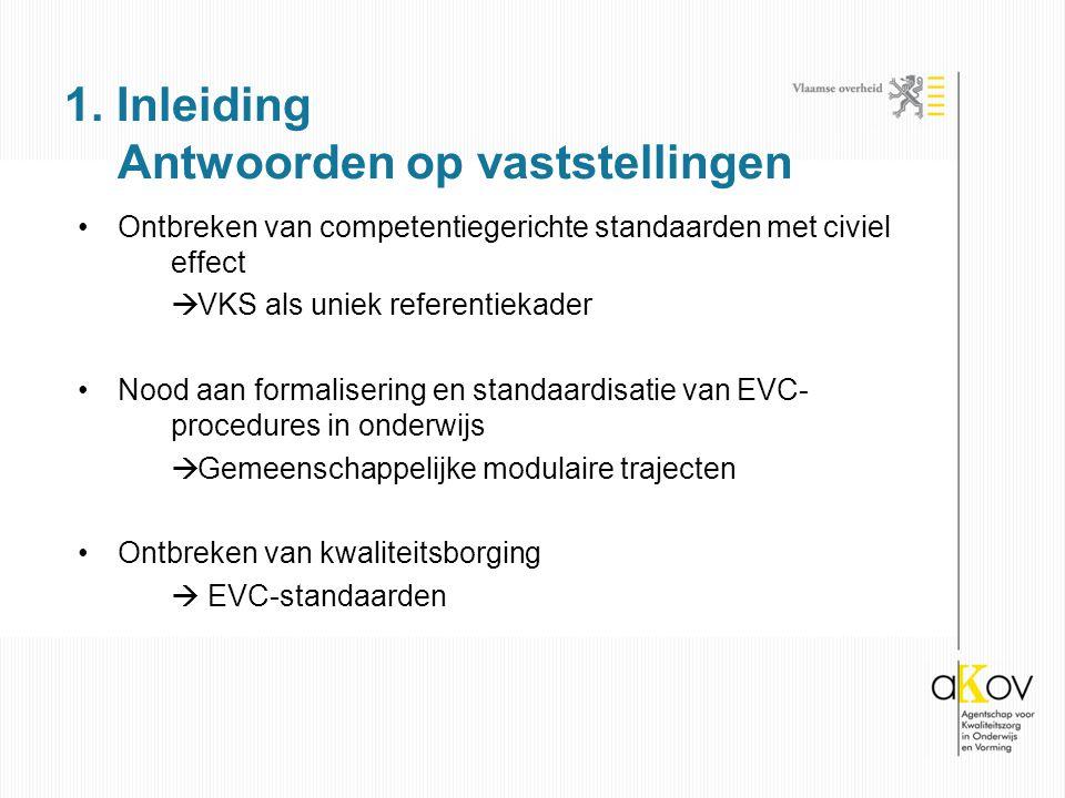 Ontbreken van competentiegerichte standaarden met civiel effect  VKS als uniek referentiekader Nood aan formalisering en standaardisatie van EVC- procedures in onderwijs  Gemeenschappelijke modulaire trajecten Ontbreken van kwaliteitsborging  EVC-standaarden 1.