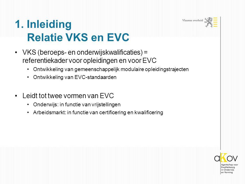 VKS (beroeps- en onderwijskwalificaties) = referentiekader voor opleidingen en voor EVC Ontwikkeling van gemeenschappelijk modulaire opleidingstrajecten Ontwikkeling van EVC-standaarden Leidt tot twee vormen van EVC Onderwijs: in functie van vrijstellingen Arbeidsmarkt: in functie van certificering en kwalificering 1.
