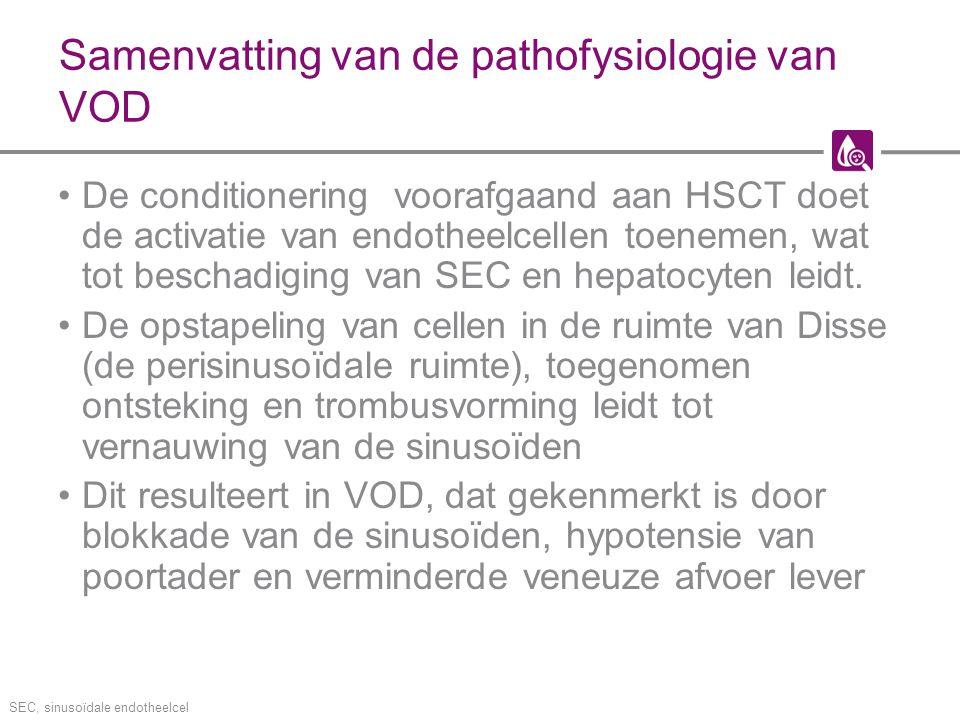 Samenvatting van de pathofysiologie van VOD De conditionering voorafgaand aan HSCT doet de activatie van endotheelcellen toenemen, wat tot beschadigin