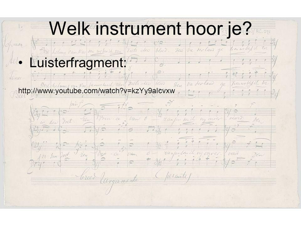 Welk instrument hoor je? Luisterfragment: http://www.youtube.com/watch?v=kzYy9aIcvxw