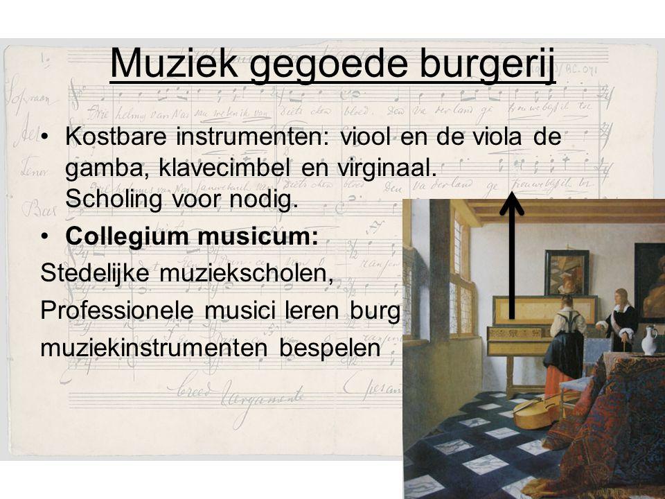 Muziek gegoede burgerij Kostbare instrumenten: viool en de viola de gamba, klavecimbel en virginaal.