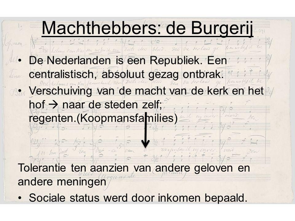 Machthebbers: de Burgerij De Nederlanden is een Republiek.