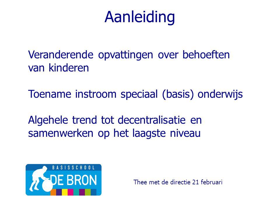 Aanleiding Veranderende opvattingen over behoeften van kinderen Toename instroom speciaal (basis) onderwijs Algehele trend tot decentralisatie en same