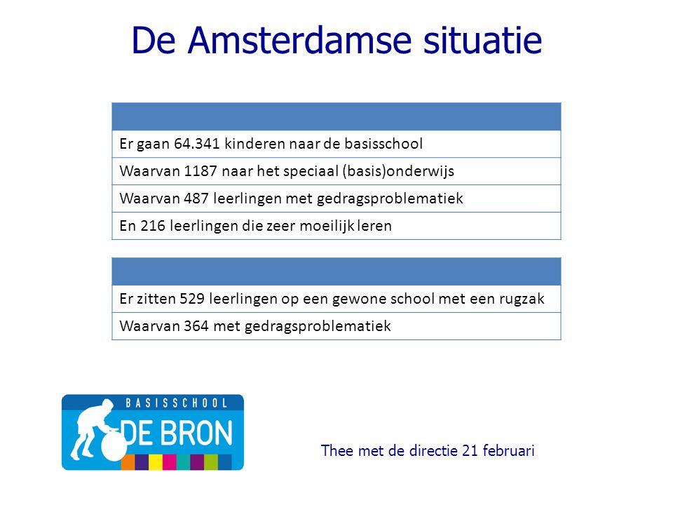 De Amsterdamse situatie Thee met de directie 21 februari Er gaan 64.341 kinderen naar de basisschool Waarvan 1187 naar het speciaal (basis)onderwijs Waarvan 487 leerlingen met gedragsproblematiek En 216 leerlingen die zeer moeilijk leren Er zitten 529 leerlingen op een gewone school met een rugzak Waarvan 364 met gedragsproblematiek