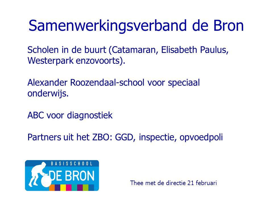 Samenwerkingsverband de Bron Scholen in de buurt (Catamaran, Elisabeth Paulus, Westerpark enzovoorts). Alexander Roozendaal-school voor speciaal onder