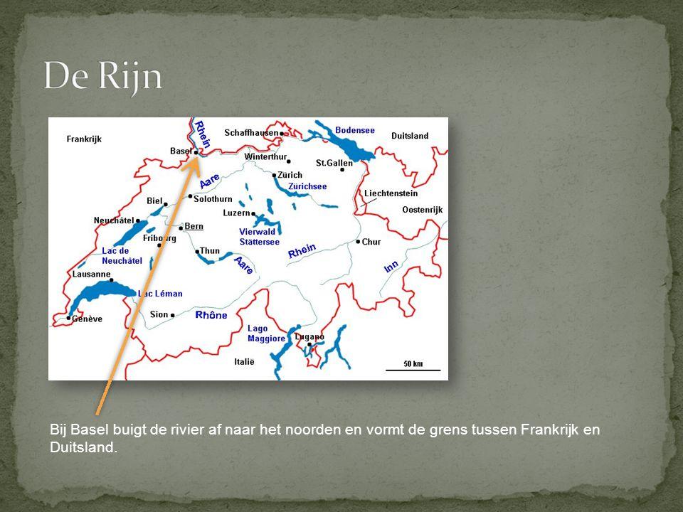 Bij Basel buigt de rivier af naar het noorden en vormt de grens tussen Frankrijk en Duitsland.