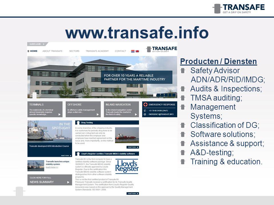 Bio Transafe TRANSAFE is een volledig onafhankelijke dienstverlener voor de maritieme industrie, terminals en aanverwante bedrijven.