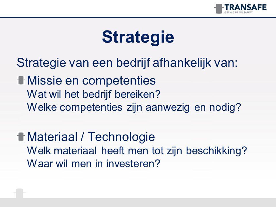 Strategie van een bedrijf afhankelijk van: Missie en competenties Wat wil het bedrijf bereiken? Welke competenties zijn aanwezig en nodig? Materiaal /