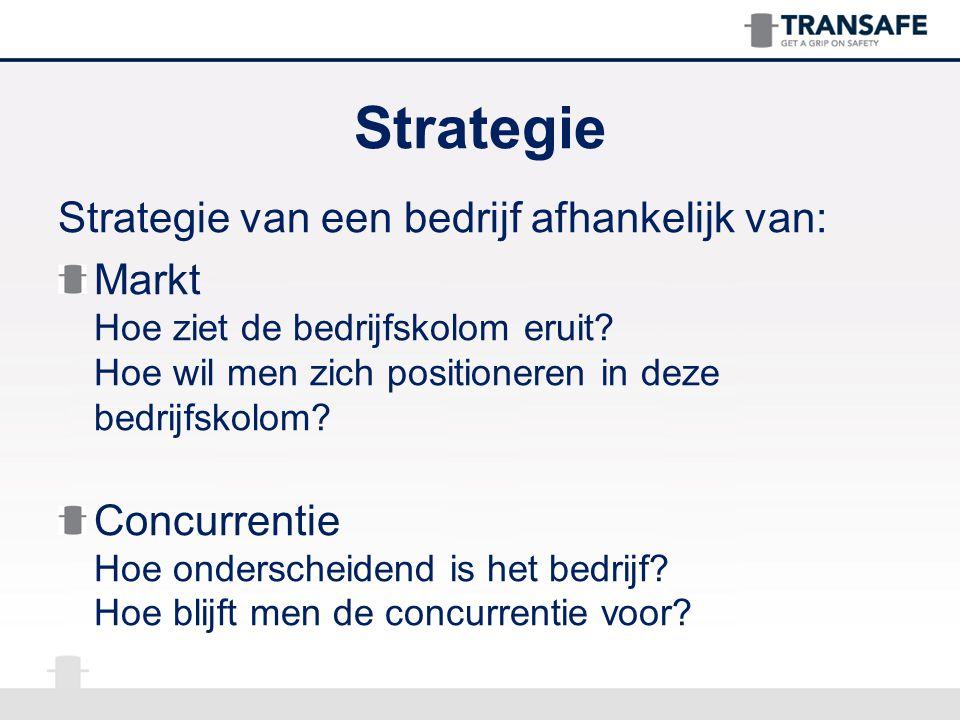 Strategie Strategie van een bedrijf afhankelijk van: Markt Hoe ziet de bedrijfskolom eruit? Hoe wil men zich positioneren in deze bedrijfskolom? Concu