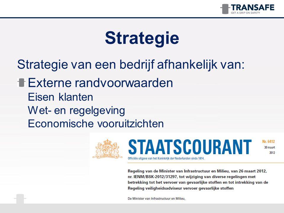 Strategie Strategie van een bedrijf afhankelijk van: Externe randvoorwaarden Eisen klanten Wet- en regelgeving Economische vooruitzichten