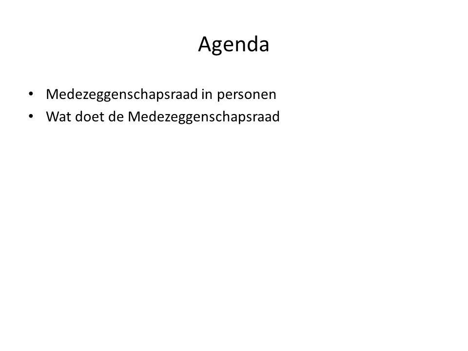 Agenda Medezeggenschapsraad in personen Wat doet de Medezeggenschapsraad
