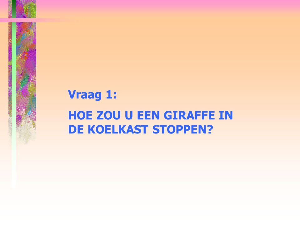 Vraag 1: HOE ZOU U EEN GIRAFFE IN DE KOELKAST STOPPEN?