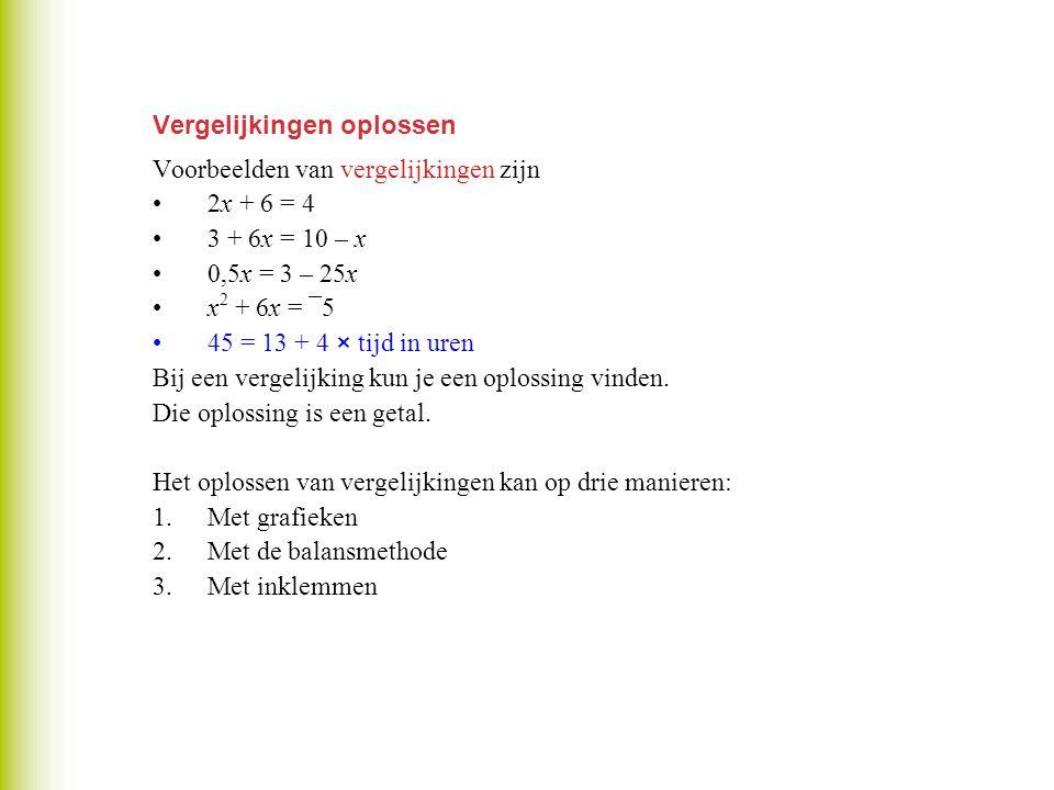Vergelijkingen oplossen Voorbeelden van vergelijkingen zijn 2x + 6 = 4 3 + 6x = 10 – x 0,5x = 3 – 25x x 2 + 6x = ¯5 45 = 13 + 4 × tijd in uren Bij een