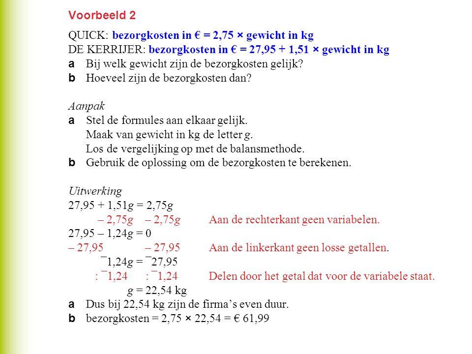 Voorbeeld 2 QUICK: bezorgkosten in € = 2,75 × gewicht in kg DE KERRIJER: bezorgkosten in € = 27,95 + 1,51 × gewicht in kg a Bij welk gewicht zijn de b
