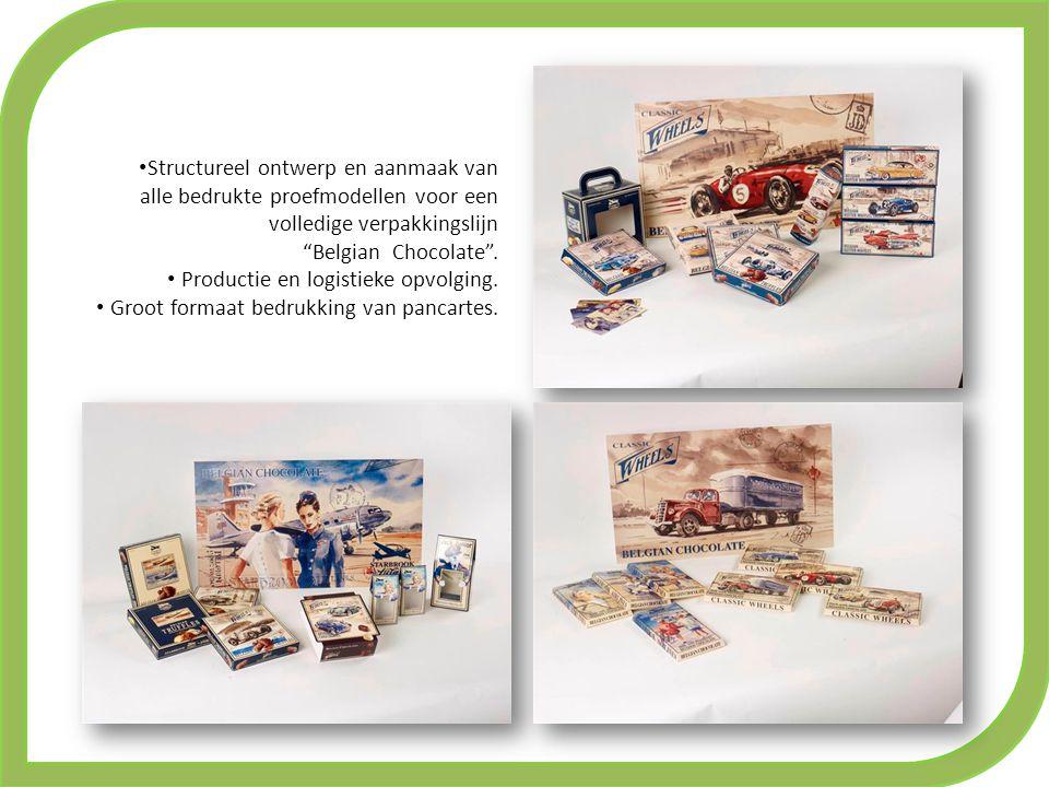 Structureel ontwerp en aanmaak van alle bedrukte proefmodellen voor een volledige verpakkingslijn Belgian Chocolate .