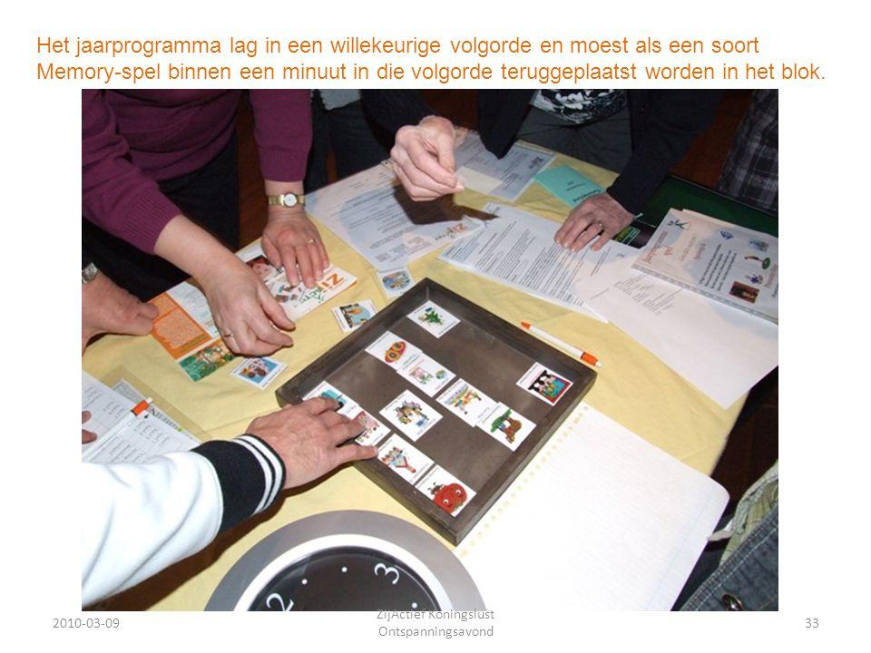 2010-03-0933 ZijActief Koningslust Ontspanningsavond Het jaarprogramma lag in een willekeurige volgorde en moest als een soort Memory-spel binnen een minuut in die volgorde teruggeplaatst worden in het blok.