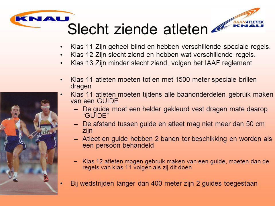 Slecht ziende atleten De atleet moet als eerste de finish lijn passeren –Passeert de guide als eerste dan worden zij gediskwalificeerd