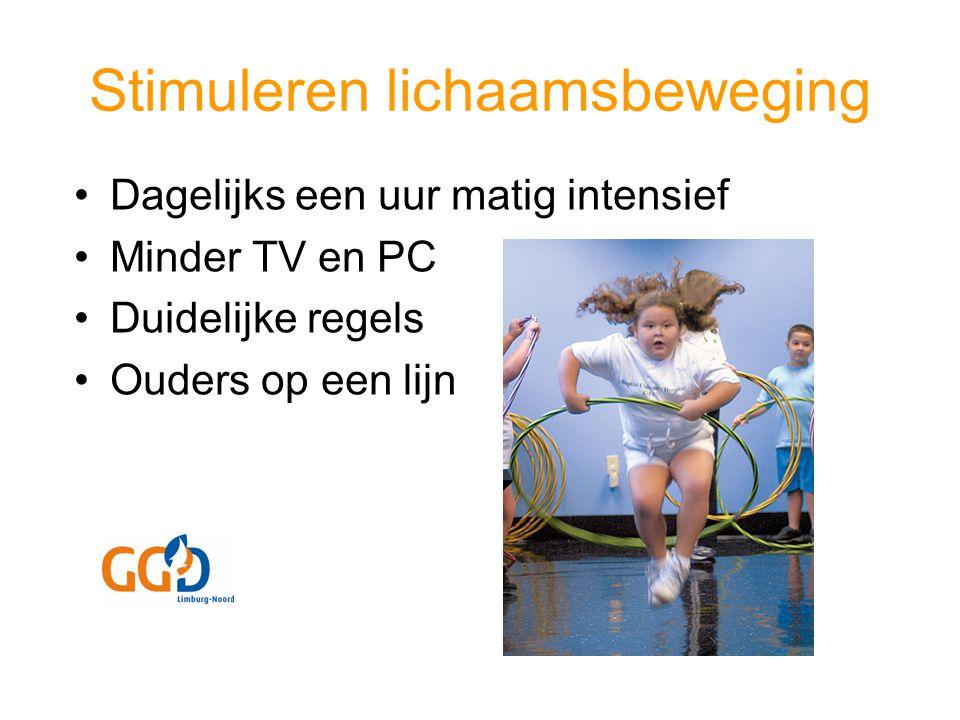 Stimuleren lichaamsbeweging Dagelijks een uur matig intensief Minder TV en PC Duidelijke regels Ouders op een lijn