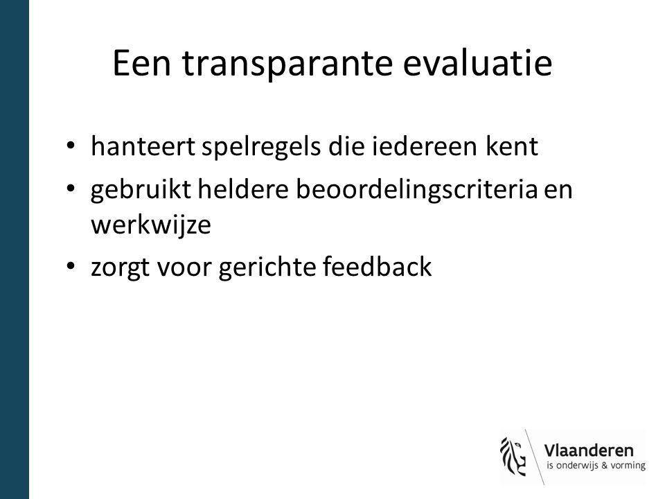 Een transparante evaluatie hanteert spelregels die iedereen kent gebruikt heldere beoordelingscriteria en werkwijze zorgt voor gerichte feedback