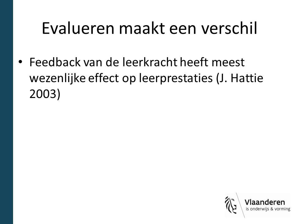 Evalueren maakt een verschil Feedback van de leerkracht heeft meest wezenlijke effect op leerprestaties (J. Hattie 2003)