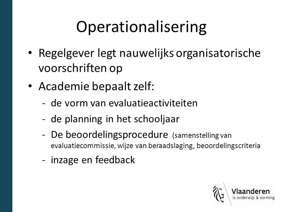 Operationalisering Regelgever legt nauwelijks organisatorische voorschriften op Academie bepaalt zelf: -de vorm van evaluatieactiviteiten -de planning