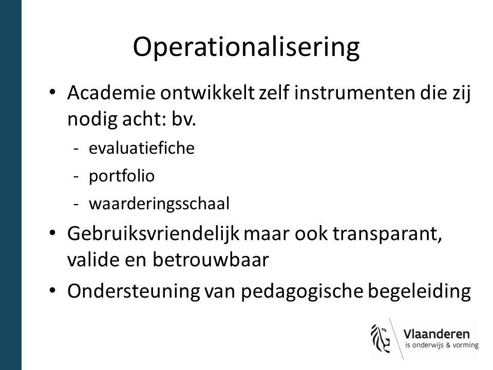 Operationalisering Academie ontwikkelt zelf instrumenten die zij nodig acht: bv. -evaluatiefiche -portfolio -waarderingsschaal Gebruiksvriendelijk maa