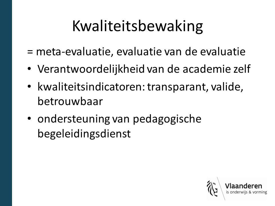 Kwaliteitsbewaking = meta-evaluatie, evaluatie van de evaluatie Verantwoordelijkheid van de academie zelf kwaliteitsindicatoren: transparant, valide,