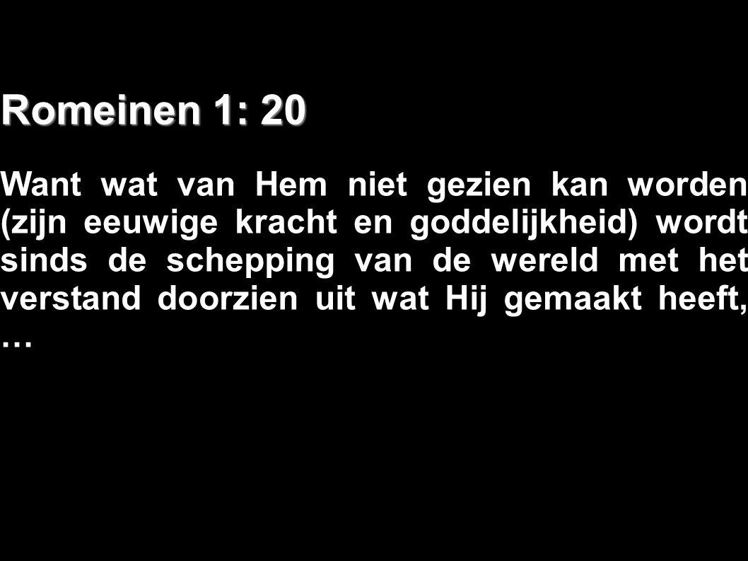 Romeinen 1: 20 Want wat van Hem niet gezien kan worden (zijn eeuwige kracht en goddelijkheid) wordt sinds de schepping van de wereld met het verstand
