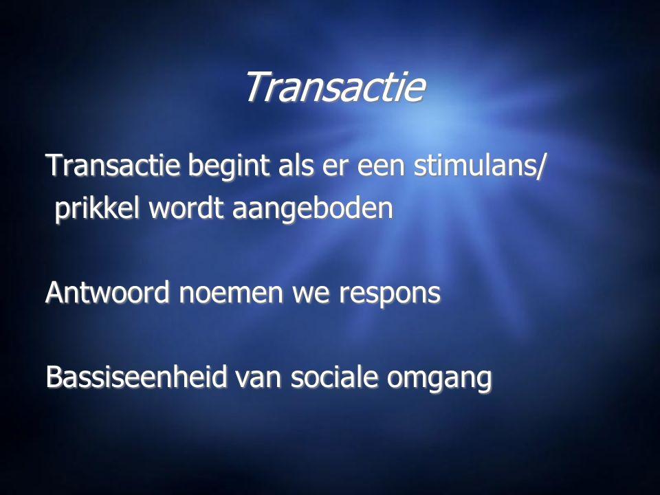 Transactie Transactie begint als er een stimulans/ prikkel wordt aangeboden Antwoord noemen we respons Bassiseenheid van sociale omgang Transactie begint als er een stimulans/ prikkel wordt aangeboden Antwoord noemen we respons Bassiseenheid van sociale omgang